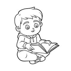 Coloring book, Young boy reading a book