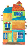 Watercolor house Cafe. Hand drawn illustration. - 169927893