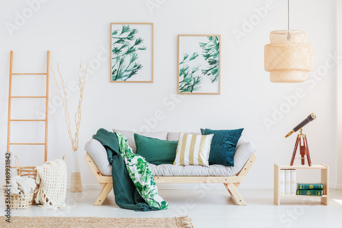 Room with dark green accents