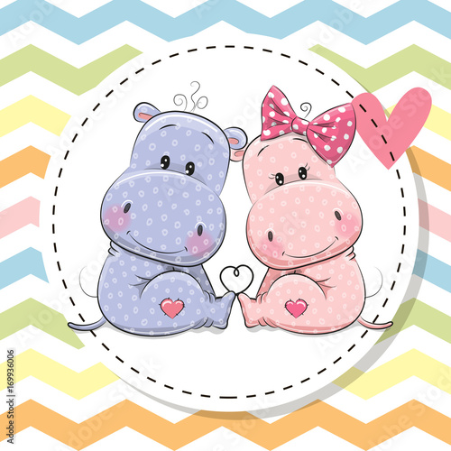 Greeting Card with Two cute Hippos