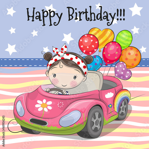 Fotobehang Auto Cute Cartoon Girl with balloon
