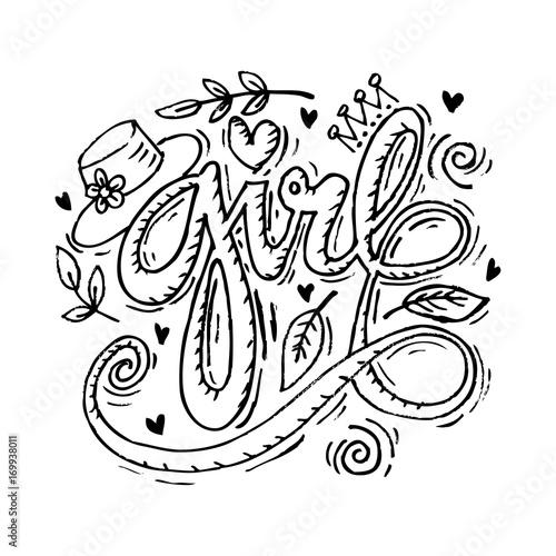Foto op Plexiglas Vlinders in Grunge Girl hand lettering typhography.