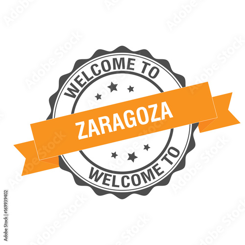 Welcome to Zaragoza stamp Illustration