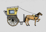 Horsedrawn Carriage Or Coach Travel Illustration Engraved Hand Drawn In Old Sketch Style Vintage Transport Wall Sticker