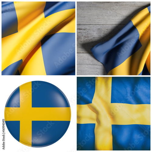 In de dag Stockholm Kingdom of Sweden flag