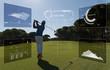 Pro golf player shot ball from sand bunker