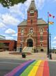 City hall with rainbow sidewalk in Fredericton, New Brunswick, Canada