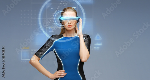 woman in virtual reality 3d glasses with screens