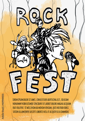 Fotobehang Muziek The poster for the rock festival of heavy music . Guitarist, drummer and singer on a yellow background. Rock band. Vector illustration in grunge style.
