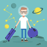 Space Colonization. Young character moving to mars with a luggage / flat editable vector illustration