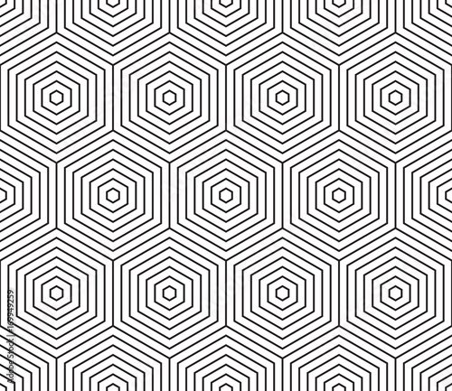 Modern stylish design with concentric hexagons. Seamless vector pattern - 169949259