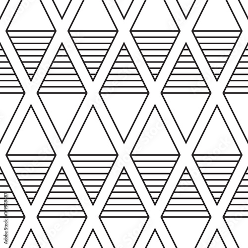 Stylish background with striped rhombuses. Seamless vector pattern - 169949487