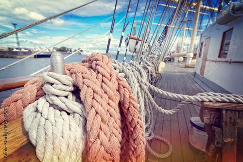 Fotobehang Schip Ropes on a sailboat