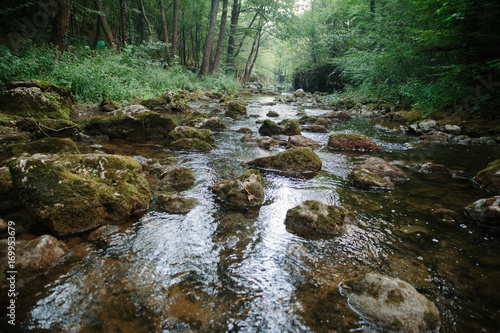 Aluminium Bergrivier Mountain river flowing through woods, over the rocks. Moravica, Soko Banja, Serbia.