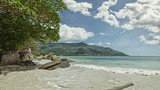 Sunny day on the beach in the Seychelles