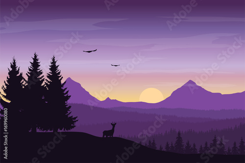 Fotobehang Snoeien Vector illustration of mountain landscape with forest and deer under a purple sky with sunrise and clouds