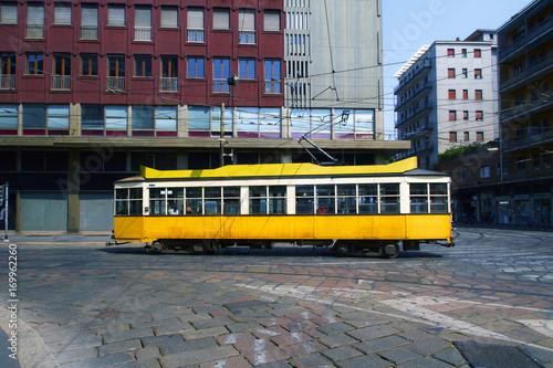 Foto op Canvas Milan Tram a Milano Zona Porta Genova Navigli Lombardia Italia Europa