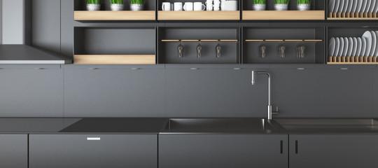 Modern dark kitchen counters closeup © peshkov