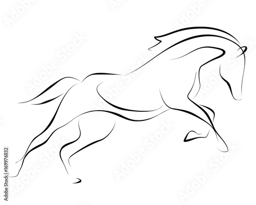 Running black line horse on white background. Vector graphic.