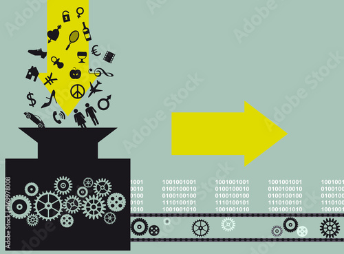 Conceptual illustration of a machine, converting assorted symbols of things and ideas into blocks of information, EPS 8 vector illustration