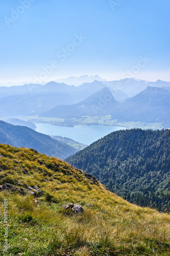 Vertical shot of austrian Alps landscape