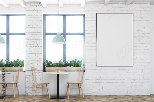 Brick cafe with wooden chairs, poster - 169983891