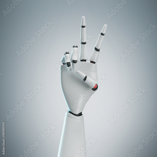White robot hand, gray background