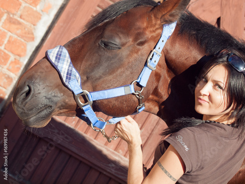 girl with your own horse in stable