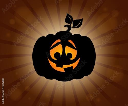 Fotobehang Voor kinderen Halloween pumpkin silhouette topic 1