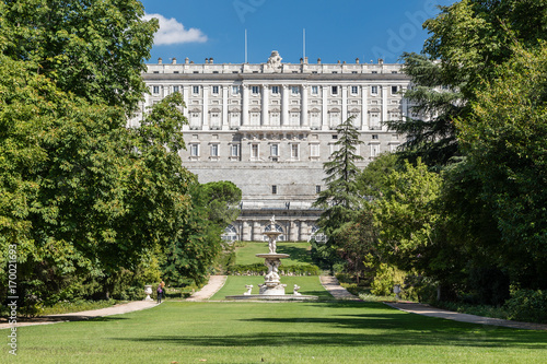 Royal Palace of Madrid seen from the gardens of the Campo del Moro in Madrid Poster