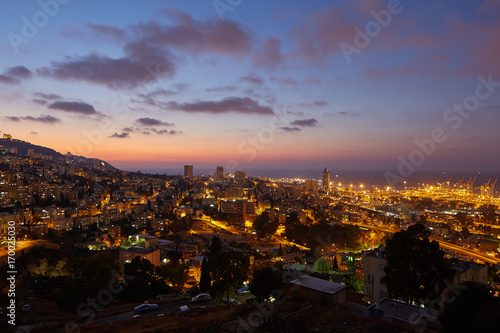Foto op Canvas Europa Haifa city, night view aerial panoramic landscape photo