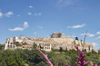 Athens Greece, ancient temple on acropolis hill, view from the south