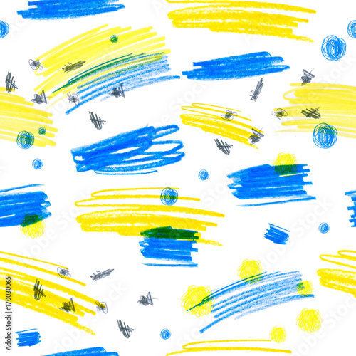 Materiał do szycia Seamless pattern with a creative texture. Illustration of colored pencils background. Pencil lines. Children's drawings.