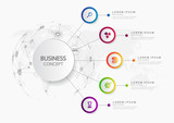 Vector infographic template business concept with options. Label circles for content, flowchart, diagram, steps, infographics, chart, workflow layout illustration, - 170032815
