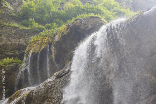 Fotobehang Olijf Chegem Waterfalls in Karachaevo-Cherkessiya Region of Russia
