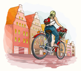 Bicyclist girl in city