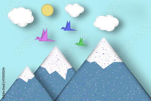 Foto op Canvas Groene koraal Style Paper Origami Concept.