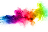 Multicolored powder explosion on white background. - 170045657