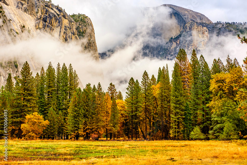 Yosemite Valley at cloudy autumn morning Poster