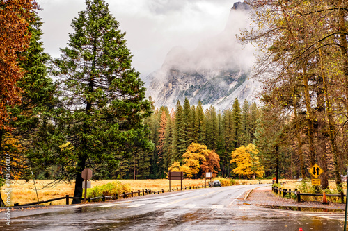 Wet road in Yosemite at cloudy autumn morning