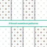 Set of vector seamless patterns with little cute owls and floral elements on white background
