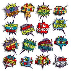 Back to School in comic speech bubbles, pop art style. Education concept. Comic dialog cloud, space cartoon. Set memphis school comic bubble halftone dot. Creative idea conversation explosion balloon