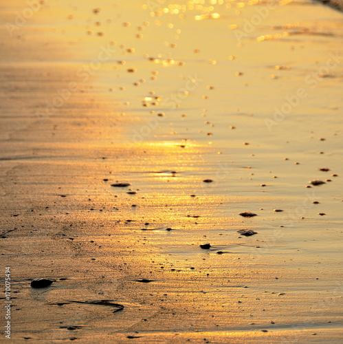 Papiers peints Beige Plage, sable, lumière , lever du soleil