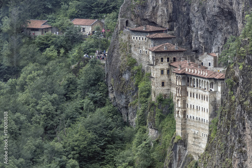 Fotobehang Khaki Turkey. Region Macka of Trabzon city - the Sumela Monastery (1600 year old Greek Orthodox monastery of the Panaghia). Rock Church - the inner and outer walls are decorated with frescoes