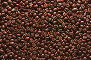 Roasted coffee beans on a flat background.