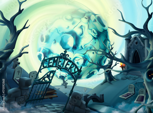 Foto op Canvas Groen blauw Cemetery, halloween background. Cartoon landscape, 3d vector graphics