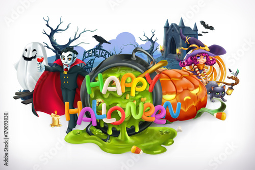 Happy Halloween. Pumpkin, cat, witch, vampire, crypt and lettering, 3d vector emblem