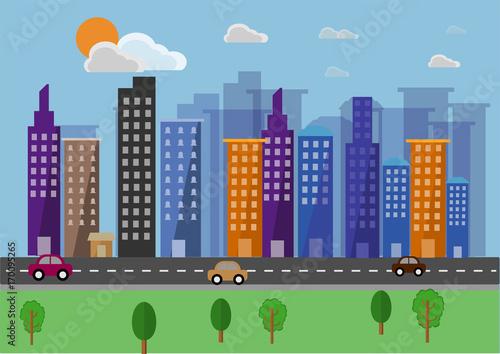 Cityscape landscape flat vector background.