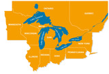 graphic of the North American great lakes and their neighboring states