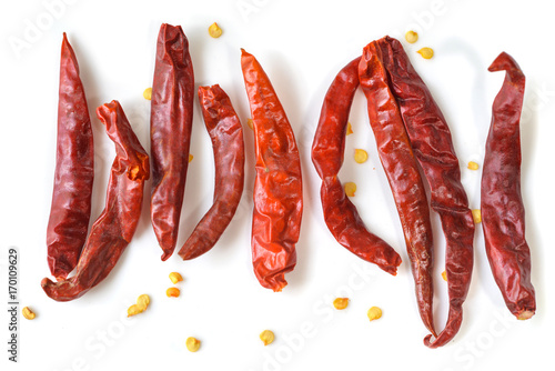 Papiers peints Hot chili Peppers Dried Thai red chili pepper on white background - isolated
